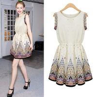 Women Fashion Casual O-Neck Sleeveless Knee Length Peacock Print Summer Dress Free Shipping Designer 2014 DM131553