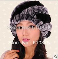 Female rex rabbit hair knitted stripe pineapple hat fur hat winter hat femaleFUR Skullies  R93 56CM-58CM