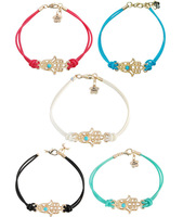 "IVY Store 5pcs/lot  MIX colours hamsa hand with ""Be Happy"" Charm of fatima braided bracelets"