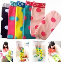 Free Shipping 2014 New Style Hot sale girls baby socks cotton Girls autumn socks kids candy color dot leg warmers