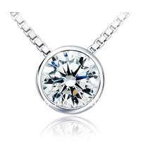 High quality Luxury plated 18K white gold pendante1 carat round cut synthetic Diamond Pendant silver sterling hearts and arrows