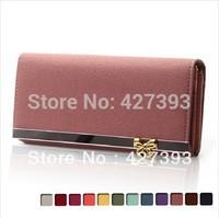 2014 New  Brand 12 Colors Women's Long Design Wallet  PU Leather Cute Bow Wallet  Women's Purse Clutch Bag Free Shipping B6090