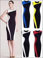 Free shipping,New Womens Summer Celeb Style Pinup Bodycon Colorblock Party knee-length Pencil Career Sheath Dresses