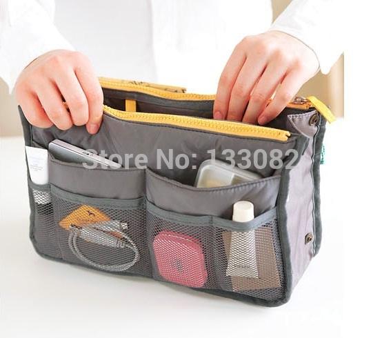 Maleta De Maquiagem Profissional Hot Fashion Dual Bag Organizer Mp3 Phone Cosmetic Book Storage Nylon Bag In Bag Handbag Purse(China (Mainland))