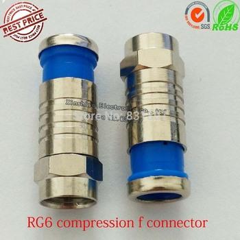Blue RG6 Coax Connector Compression Cable F Connector  RG6 waterproof F-Type Connector RG59 RG6 RG11 compression f adapter plug