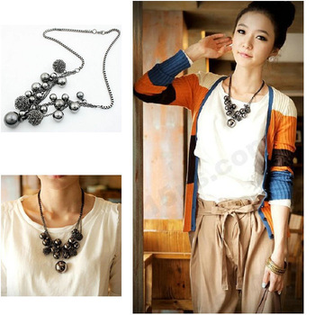 C-649, wholesale trade jewelry lady luxury beautiful gun metal black box chain necklace long ball spell hit