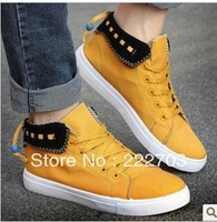 high canvas For mens sneakers new 2013 shoes men casual discount online zapatos de hombre yellow black blue cheap