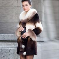 New Genuine Rex Rabbit Fur Jacket Coat With Fox Collar Winter Warm Garment Outwear TPCR0012