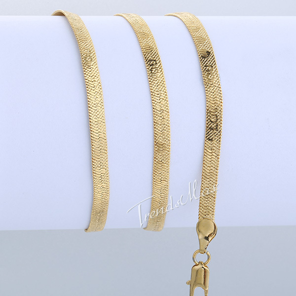 Snake HERRINGBONE 4mm 48 7cm Necklace 18K Gold Filled Necklace Womens Mens Chain I LOVE YOU
