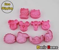 FREE SHIPPING 5packs 10sets plastic cartoon stitch melody kitty mickey winnie cookies mold cutter