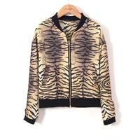 Women Fashion Tiger Prints Leisure Bomber Jackets Ladies' Coats, BL1039-Q02