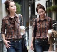 2014 women's slim long-sleeve 100% cotton plaid shirt all-match casual shirt basic shirt free shipping