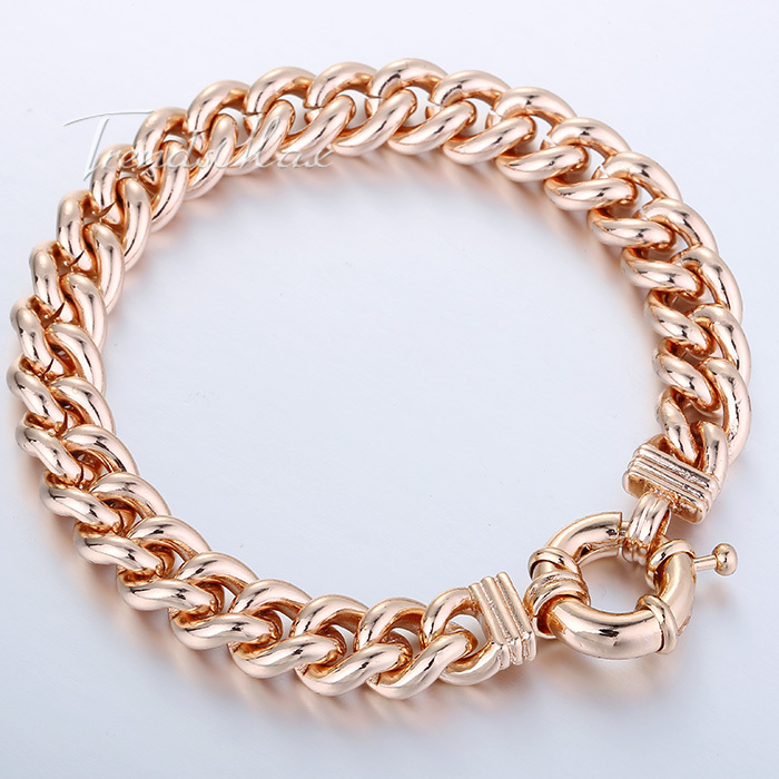 10MM CURB CUBAN BRACELET Personalized Mens Boys Bracelet 18K Rose Gold Filled Bracelet Chain Bulk Sale