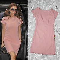 High Quality Victoria Beckham Fashion Summer Casual Knee-length mid-calf Slim Back Zipper Women Dress