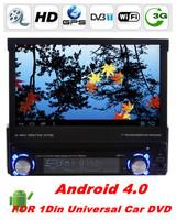 Detachable Panel Universal HD 1din Android 4.0 CAR DVD with Bluetooth GPS navi Radio TV 3G/WIFI 3D PIP FM IPOD+free WIFI dongle