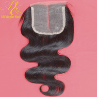 "Queen hair products closure brazilian hair body wave 100% virgin human hair lace closure(4""*4"") natural color free shipping"
