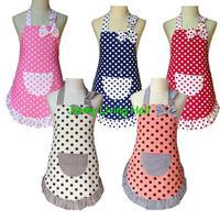 Stock Colorful Cotton Polka Dots Children Kids Apron Only 10pcs/lot