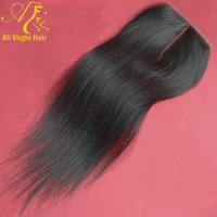 """Queen hair products natural straight Brazilian virgin hair lace top closure(4""""*4"""") straight hair natural color free shipping"""