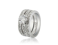 Free Shipping 3-Piece 18K RGP Alloy Crystal Decoration Rings Sz 9  LHP-4173D