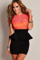 Hot sale Celestial Coral Green Floral Lace Black Peplum women special occasion dresses work wear  vestidos de fiesta 2014