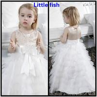 Free shipping Flower girl dresses for weddings Little girls pageant dresses Floor-length 2-12 age