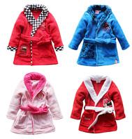 Free Shipping -coral fleece cute kids/children/boys/girls cartoon robe, sleepwear pajamas, bathrobe(MOQ: 1pc)