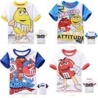 6pcs/lot New Baby Children Cartoons Chocolate M&M Short Sleeve T Shirt For 2-7Yrs Girls Boys Kids Sport Cotton Tops Summer Wear