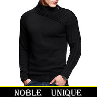 ON SALE! 100% Cotton Men's turtleneck sweater brand High quality warm winter Slim pullovers fashion men Slim sweaters MZ-8801