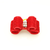 Handmade Accessories Dogs Cute Red Rhinestones Ribbon Hair Bow  Pet Rubber Bands Dog Hair Bows.