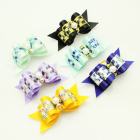Handmade Puppy Grooming Accessories  Hot Pearl Plaid Color Ribbon Hair Bow  Dog Hair Bows Pet First Flower Wholesale.
