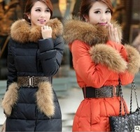free shipping 2014 winter thick large fur collar down coat white duck feather women's long warm watertight jacket coats S-XXL