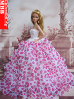 New Handmade Princess Wedding Party Dress Clothes Gown For Barbie Doll Pink Heart style free shipping  Via ePacket