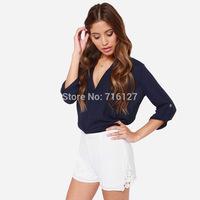 FREE SHIPPING 2014 new women trousers high waist Soft the triangle crochet embroidery chiffon lace stitching shorts XS-XXL