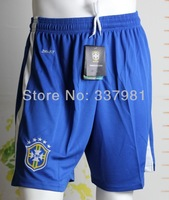 2014 Factory Price Embroidery Logo Brasil Home Soccer Short, 100% Guaranteed Brasil13/14 Short,Mix Order,Free Ship