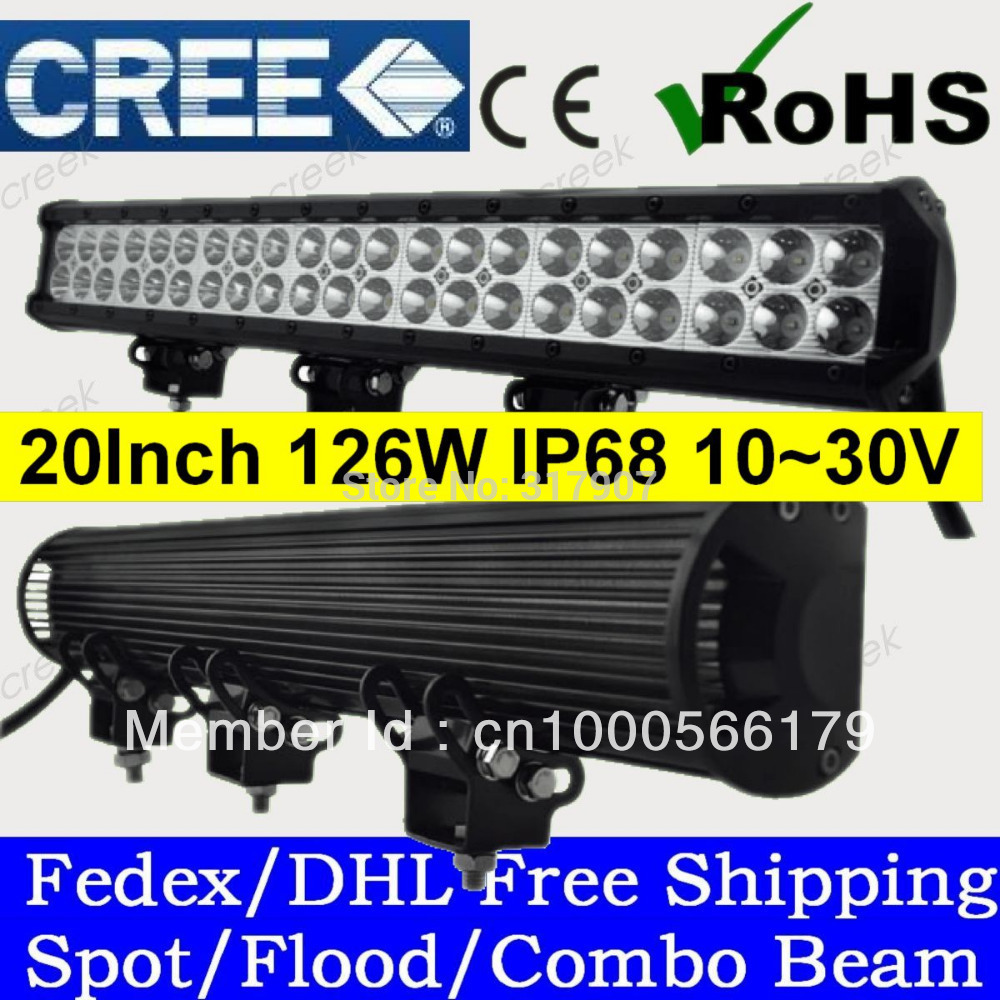 20 Inch 126W Cree LED Light Bar with Flood Spot Combo Beam for 4WD 4x4 Offroad Jeep Truck Car Mining Boat LED Work Light(China (Mainland))