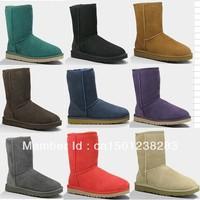 Free Shipping U-Brand 5825 Classic Short Snow Boots 100% Twinface Sheepskin,5825 Womens/5251 Kids Desinger Winter Boots