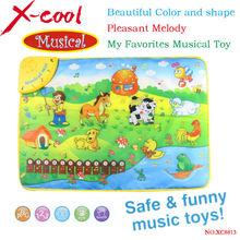 Free shipping XC8813NC 69x50cm Music Animal Voice Singing Piano Farm baby play gym mat, baby game carpet, baby Travel Gym Play(China (Mainland))