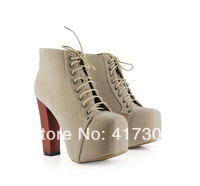 Hot 2013 Jeffrey Campbell fashion high heel platform ankle boots for women lace up square heel motorcycle boots big size shoes