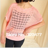 207#Free Shipping 2013 New  Autumn slash neckline Batwing Hollow Out  Flower Lace Knitted Women's Sweater  plus size