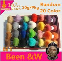 Free Shipping!Multicolor (10g*20Color)Wool Felt Poke Fun Strip Sheep Wool Materials Wool Roving,Fiber,Needle Felting