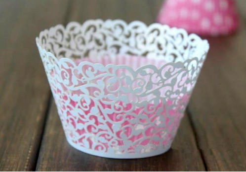 12X Laser Cut White Flower Vine Cupcake Wrappers Wraps Wedding Birthday Tea Party Decorations Free Shipping(China (Mainland))