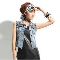 New Womens Jean Vest Sequin Bead Chain Denim Jacket Outerwear Sleeveless Waistcoats Free Shipping nz107