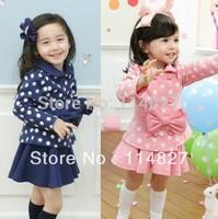 2014~ Hot sell ,New fashion style  baby girl's bow long sleeve dot coat+skirt set ,(1set/lot)