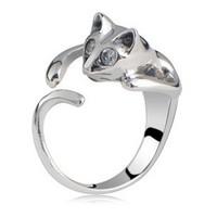 Hot-selling Vintage Fashion Design Personalized Alloy Cat Ring Adjust Female Lovely Rhinestone Cat Shape Finger ring 6 colors
