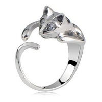 Hot-selling Vintage Fashion Design Personalized Alloy Cat Ring Adjust Female Lovely Rhinestone Cat Shape Finger ring 6 colors