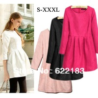 2013 New Arrival Women Sexy Fashion Elegant Ladies Autumn Winter Mini Dress For Party Black Rose Pink White S - XXXL 19151