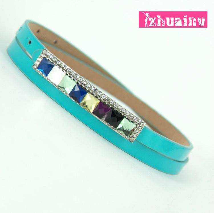 Leather rhinestone belt female quality one-piece dress thin belt gem sparkling diamond belt decoration small strap women's belt(China (Mainland))