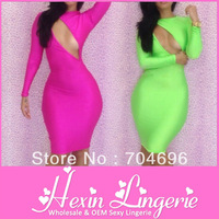 Free shipping Bandage Dress 2013 Sheath Long Sleeves O-Neck Solid Neon Slim Hip Sexy For Women Clubwear Dresses LB5061