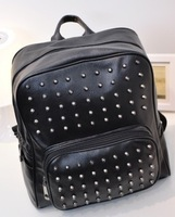 New Fashion Punk Style Rivet Design Leather Unisex Travel Backpacks Fashion Computer Bags Free Shipping WB023