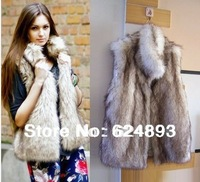 2013 New  Design elegant medium-long collar  faux Fur Vest/ gilet/ outwear womens free shipping